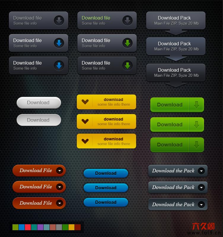 网页下载按钮图标PSD源文件