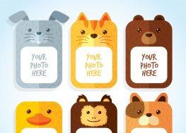 几款可爱动物照片框架矢量素材