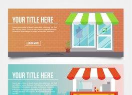 创意商铺和可移动餐车banner矢量图
