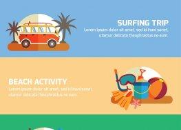 几款夏季旅行banner矢量图