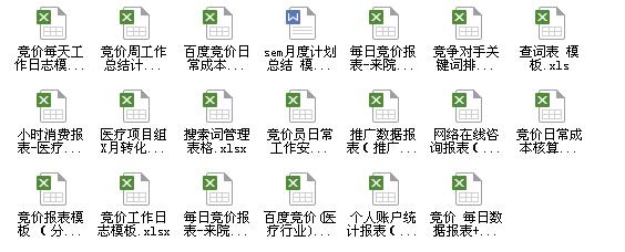 20份SEM竞价数据报表模板下载分享